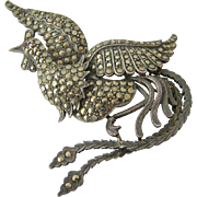 Large Sterling Silver 925 Marcasite Phoenix Bird Brooch
