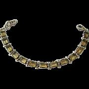 Sterling Silver 925 Citrine Bracelet Impressive Over 16 Carats Gem Weight