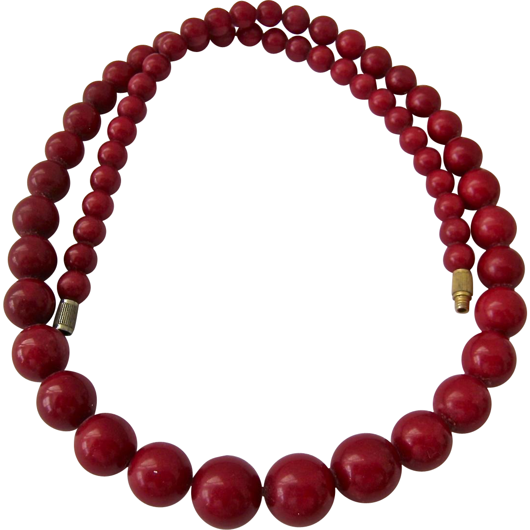 Dyed Red Graduated Gemstone Bead Necklace From Susabellas