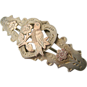 Victorian Sterling Pin Brooch Gold Overlay Bird Heart Motif Full British Hallmarks