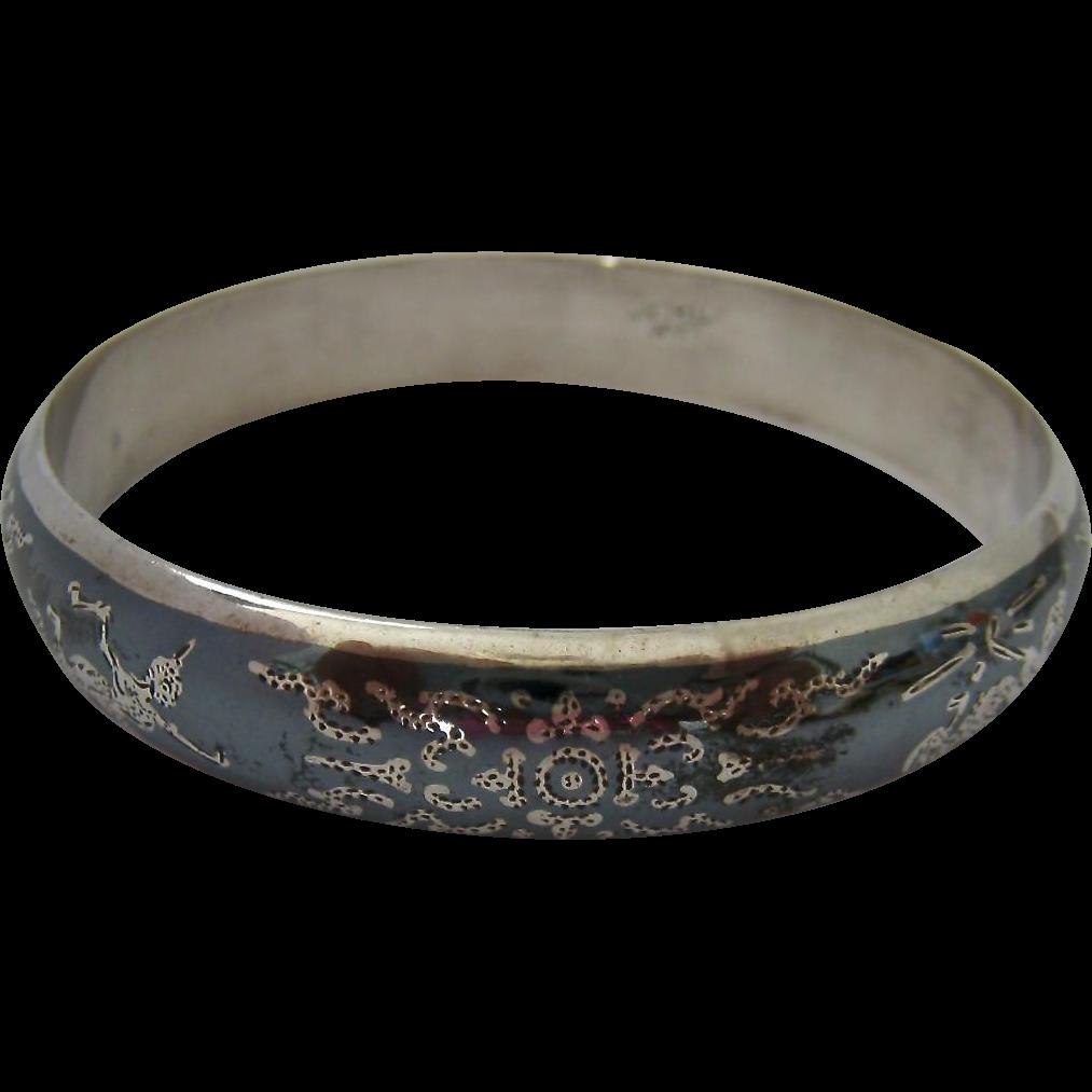 siam sterling silver 925 bangle bracelet intricate design