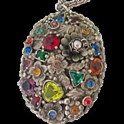 Large Multi-Colored Rhinestone Silver Tone Pendant Necklace Domed Floral Design