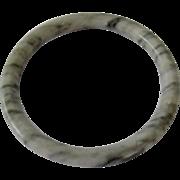 White Mottled Gemstone Bangle Bracelet