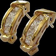 14K Gold & Channel Set CZ Post Earrings