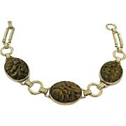 Gold Filled Bracelet with Carved Tiger Eye Stations
