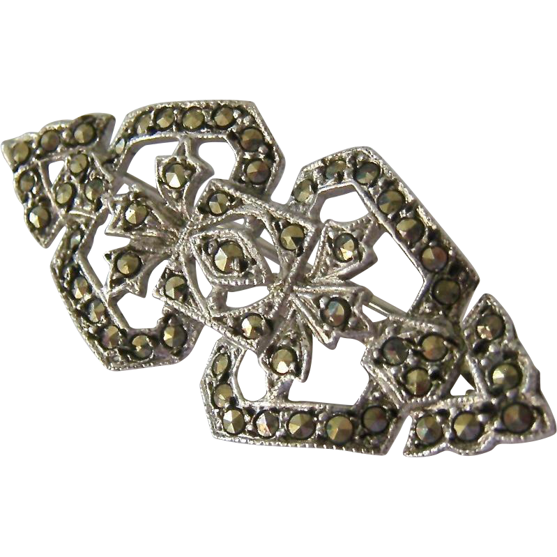 Sterling Silver 925 And Marcasite Open Work Pin Brooch
