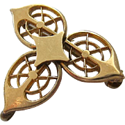 Gold Topped Watch Pin Trefoil Cut-Out Design