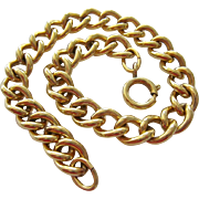 12K Gold Filled Starter Charm Bracelet Curb Link Signed