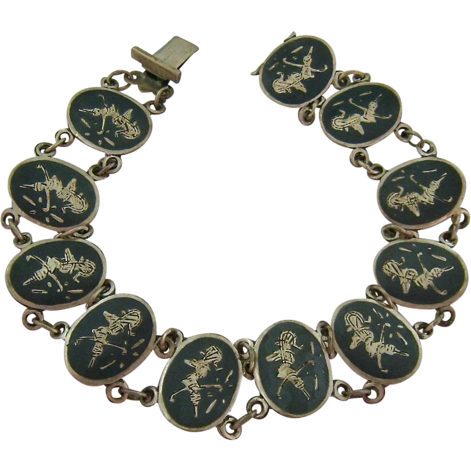 made in siam sterling niello link bracelet signed from