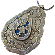 Large Silver Tribal Ethnic Pendant Necklace with Lapis