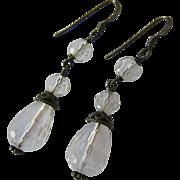 Sterling Silver 925 Faceted Rock Crystal Drop Earrings