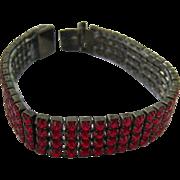 Red Rhinestone Expansion Bracelet Japanned Frame