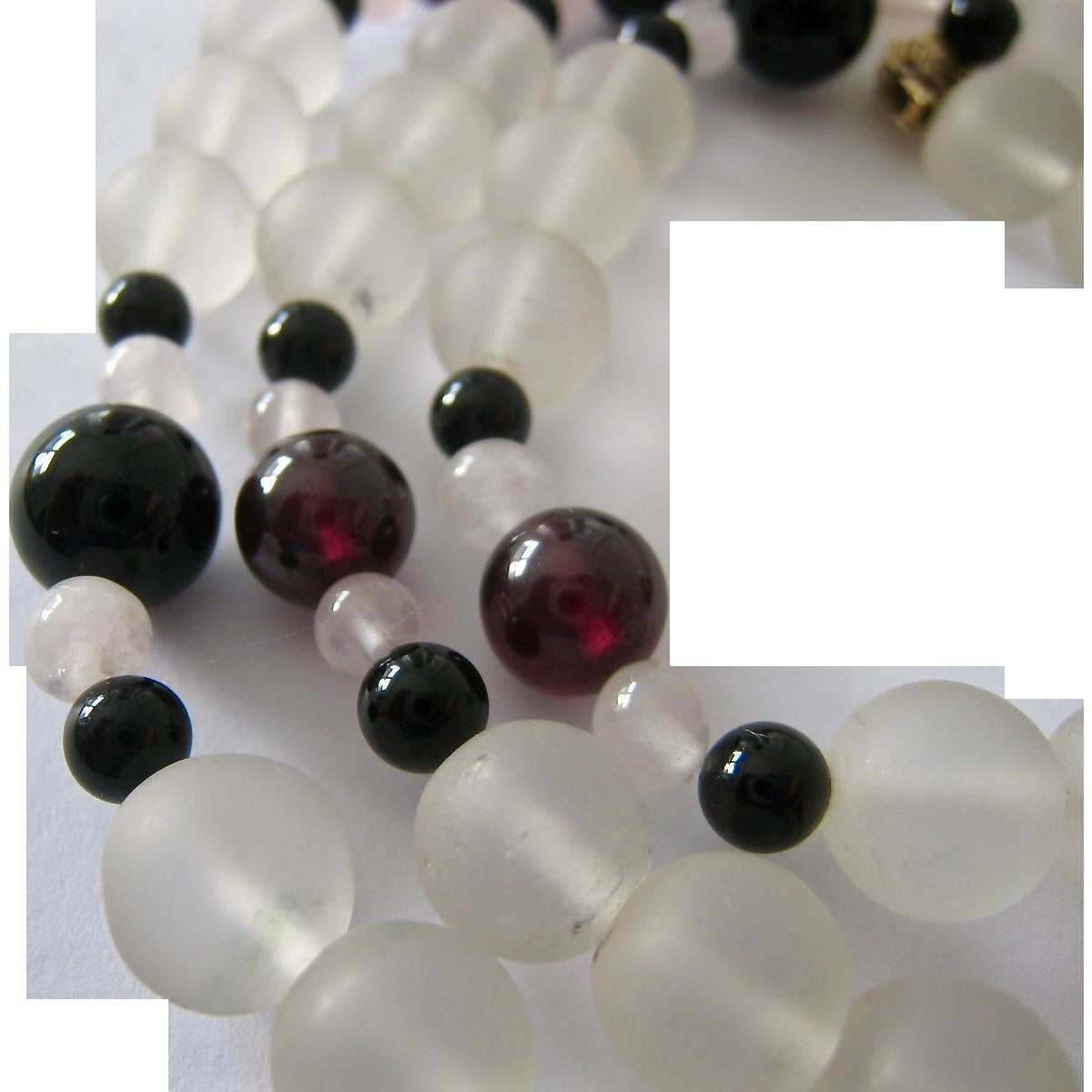 Multi Gemstone Bead Necklace Rock Crystal Garnet Black Onyx Over 24 From Susabellas On Ruby Lane