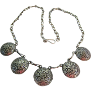 Exotic Sterling Silver 925 Necklace with 5 Domed Plaque Stations - Red Tag Sale Item