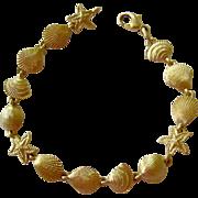 14K Gold Bracelet Shells Starfish Beach Summer Motif 11.1 Grams