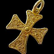 18K Gold Filigree Cannetille Cross Pendant