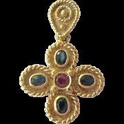 Exquisite 18K Gold Ruby Sapphire Cross Pendant