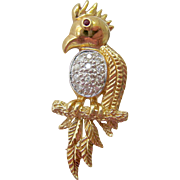 14K Gold Diamond Ruby Bird Parrot Pin