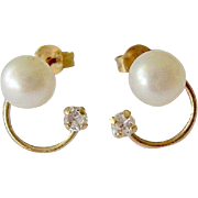 14K Gold Cultured Pearl & CZ Earrings