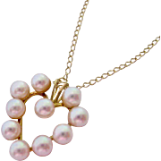 14K Gold Cultured Pearl Heart Pendant Necklace