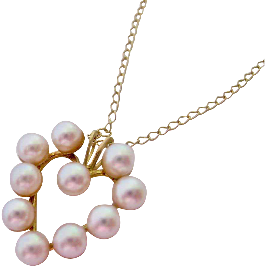 14k gold cultured pearl pendant necklace from