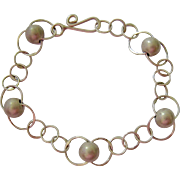 Sterling Silver 925 Circle Link and Ball Bracelet
