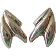 Abstract Puffy Silver Post Earrings