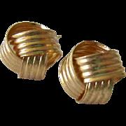 14K Gold Ribbon Love Knot Post Earrings
