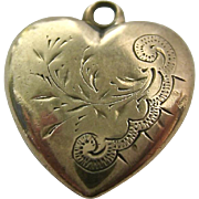 9K-10K Gold Etched Puffy Heart Pendant Charm