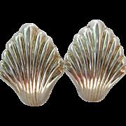 Sterling Silver 925 Omega Back Shell Post Earrings