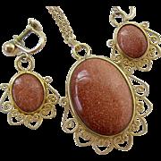 12K Gold Filled Goldstone Pendant Necklace & Screw Back Earrings