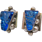 Sterling Silver 925 Blue Primitive Tribal Face Mexican Screw Back Earrings