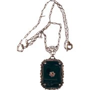 Vintage Sterling Black Lavaliere Mourning Necklace with Marcasite Accent