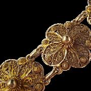 Gilt Sterling Silver 925 Cannetille Filigree Flower Link Bracelet