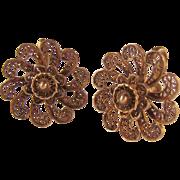 Gilt Sterling Silver 925 Flower Earrings Screw Back