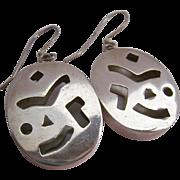 Sterling Silver 925 Cut-Out Design Dangle Earrings