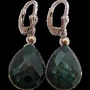 Sterling Silver 925 Lever Back Earrings Green Gemstone Dangle