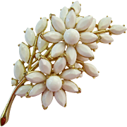 Large Crown Trifari White Milk Glass Flower Brooch Layered