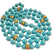 Turquoise Glass Bead Necklace Hand Knotted Endless Gold Tone Accents
