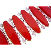 Wide Red Lucite and Silver Tone Bracelet
