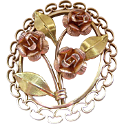 Original Box Krementz 14K Gold Overlay Floral Brooch Two-Tone