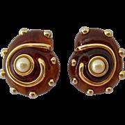Kenneth Jay Lane KJL Root Beer Amber Lucite Shell Design Clip Earrings