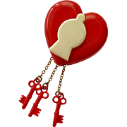Novelty Pin Red Brooch Heart Lock Keys Photo