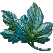 Green Enameled Leaf Leaves Pin Brooch