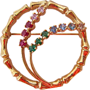 50% SALE 14K Gold Bamboo Circle Multi-Gemstone Brooch 7.9 Grams