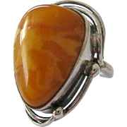 Sterling Silver 925 Egg Yolk Butterscotch Baltic Amber Ring Poland Hallmarks