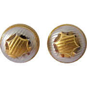 21K Gold Button Post Earrings Two Tone