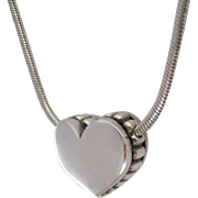 Lagos Caviar Sterling Silver 925 Heart Slide Necklace