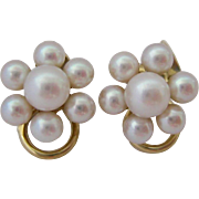 14K Gold Cultured Pearl Cluster Clip Earrings Austrian Hallmarks