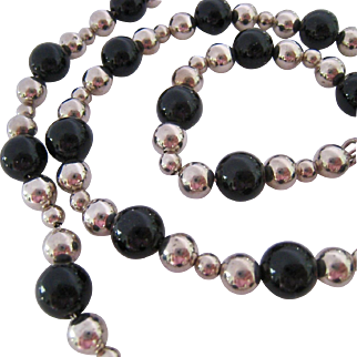 Sterling Silver 925 Black Onyx Bead Necklace